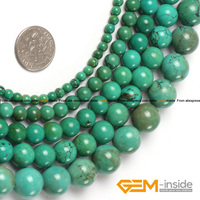 Round Blue Turquoise Beads Selectable Size 4mm To 15mm Fashion Jewelry Beads For Bracelet Making Strand
