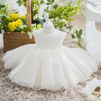 Newborn Baptism Dress For Baby Girl Tulle First Birthday Party Wear Flower Toddler Girl Christening Gown Infant Vestidos