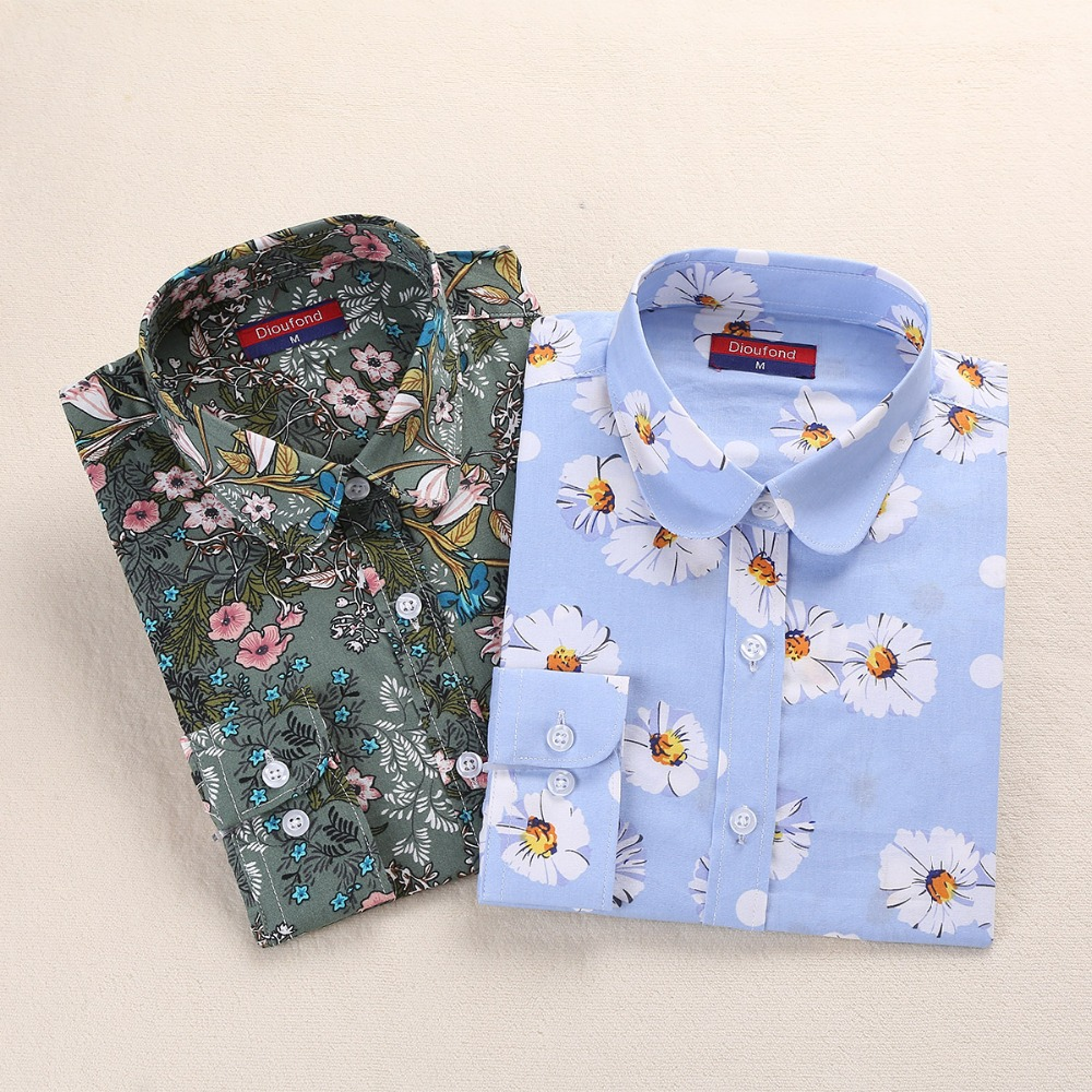 Dioufond Autumn Women Floral   Blouse   Ladies Tops Casual Femme Chemise Women Long Sleeve   Blouse     Shirt   Plus Size Women Brand   Shirt