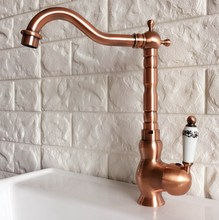 цена на Antique Red Copper Brass Bathroom Kitchen Basin Sink Faucet Mixer Tap Swivel Spout Single Handle One Hole Deck Mounted mnf406
