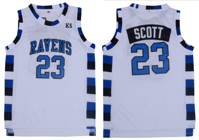 1837a00a6017 Nathan Scott 23 One Tree Hill Ravens Basketball Jersey White-in ...