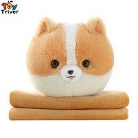 Plush Pomeranian Dog Portable Blanket Toy Doll Baby Kids Shower Car Air conditioning Travel Rug Office Nap Carpet Birthday Gift