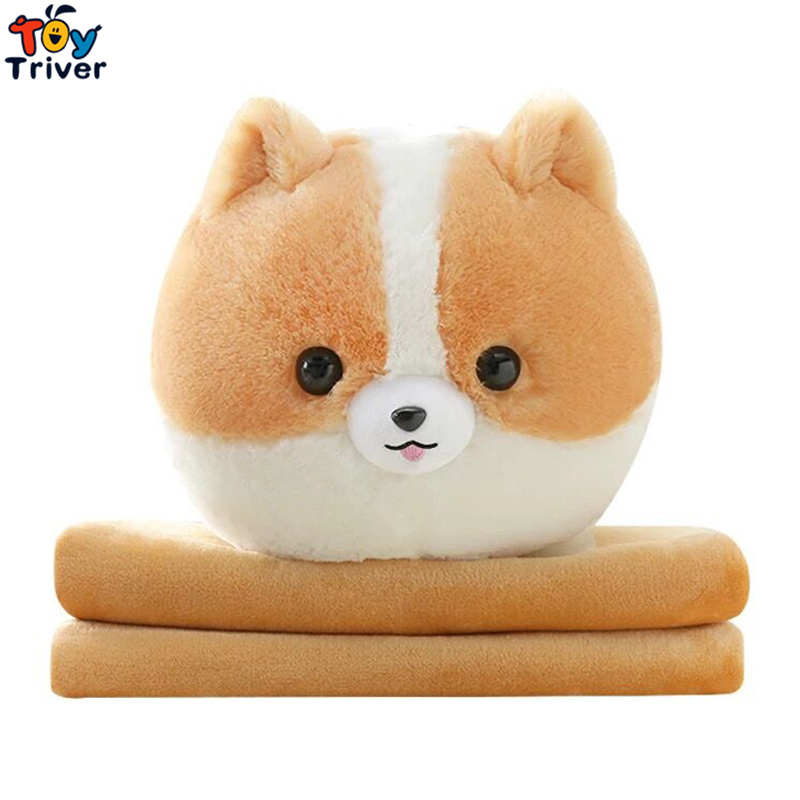 Plush Pomeranian Dog Portable Blanket <font><b>Toy</b></font> Doll Baby Kids Shower Car Air conditioning Travel Rug Office Nap Carpet Birthday Gift