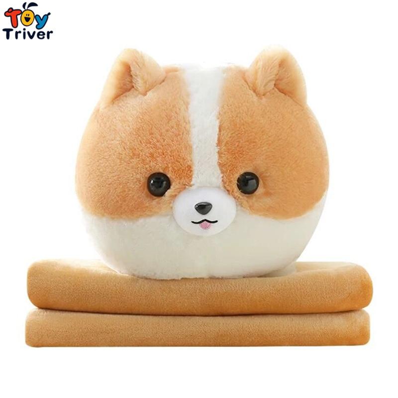 Pomeranian Dog Portable Blanket Plush Toy Doll Baby Kids Children Girl Boy Bath Car Travel Rug Office Nap Carpet Birthday Gift