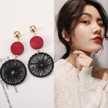 Korean temperament personality long pendant vintage wooden circle dream catcher stud earrings female