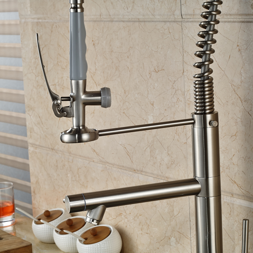 Solid Brass Tall Swivel Dual Spouts Spring Kitchen Faucet Spring
