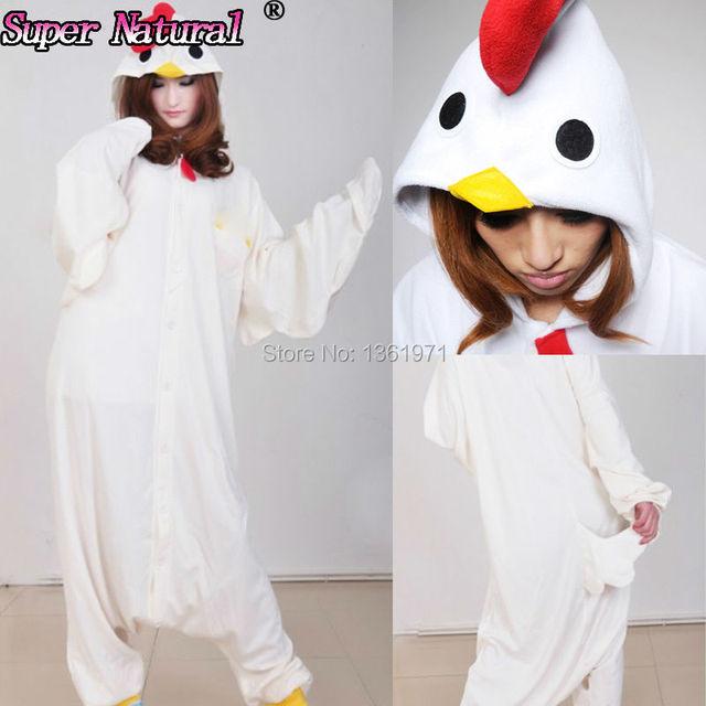 HKSNG White Black Rooster Chicken KigurumI Pajamas Animal Winter Warm Women Onesies  Adult Party Cosplay Hooded Sleepwear 4068b491c86ea