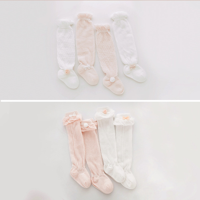 Baby mosquito socks summer thin section mesh breathable ice silk cotton baby long tube over the knee socks bow girls socks M14