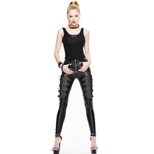New Devil Fashion Gothic Punk PU leather Net Splicing Women Leggings Personality Hollow Out Female Ankle Length Leggings