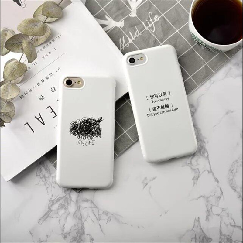 For iPhone6s 6splus 7 7plus text contracted Candy TPU back cover phone cases ++gif