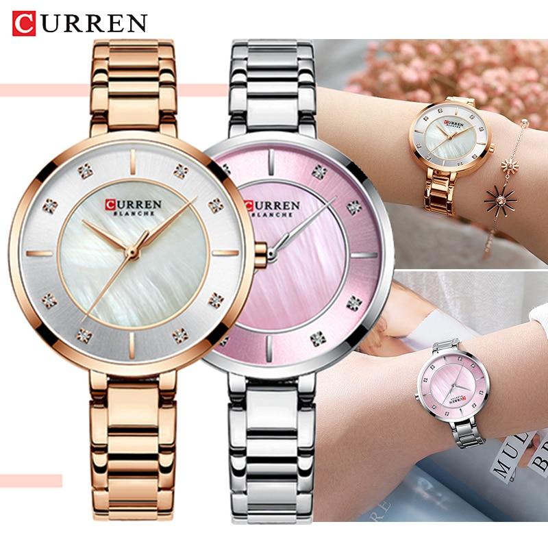 CURREN Hot Sale Fashion Stainless Steel Rose Gold & Silver Quartz Women Watches Bracelet Woman Clock Watch Ladies Wristwatch