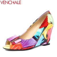 VENCHALE new style women genuine leather pumps ladies peep toe wedges wedding high heels good quality fashion party pumps 2018