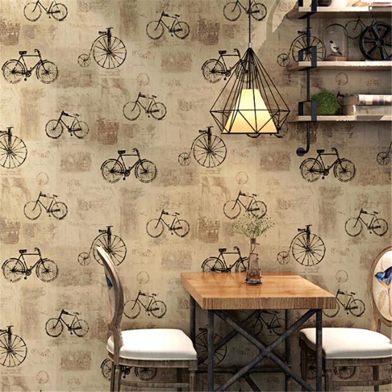 Us 31 27 41 Off Beibehang Retro Nostalgic Wallpaper Bicycle Hair Salon Hairdressing Women S Clothing Store Fashion Korean Coffee Restaurant Wall In