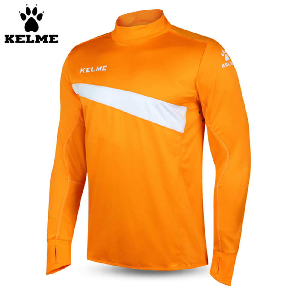 Kelme K15Z304 Men Soccer Jerseys Polyester Stand Collar Sharkskin Training Long-sleeved Pullover Orange цена
