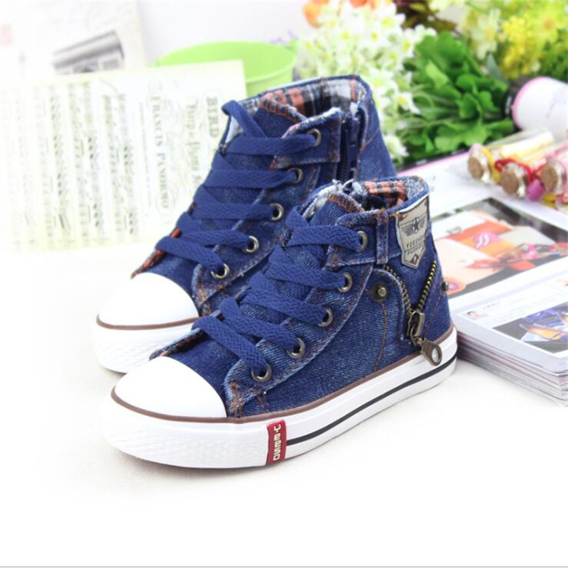 New Children Casual Shoes Kids Canvas Sneakers Boys Jeans Flats Girls Boots Denim Side Zipper Shoes Chaussure Fille Zapatos Nina
