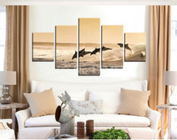 2017 New Prints Dolphins Canvas Painting 5 Pieces Diving Pictres Wall Art Home Decor For Living Room In High Quality Unframed