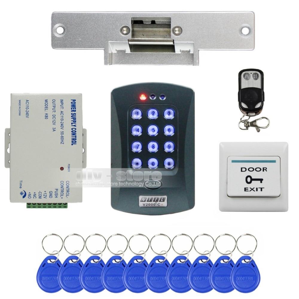 DIYSECUR Remote Control ID Card Reader Password Keypad Access Control System Security Kit + Strike Lock V2000-C usb pos numeric keypad card reader white