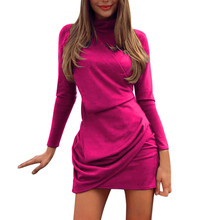 Pink Women Turtleneck Dress Women Long Sleeve Mini Dress Fold Dresses Woman Party Night Vetement Femme 2019
