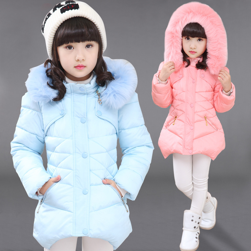 Children Winter Jacket Cotton Fur Collar Hooded Warm Cotton-padded Coats Fashion Girls Winter Long Down Coat 4 6 8 10 12 13 Year brand fashion long winter jacket women slim solid hooded fur collar zippers ladies long jacket warm cotton coat plus size xxxl
