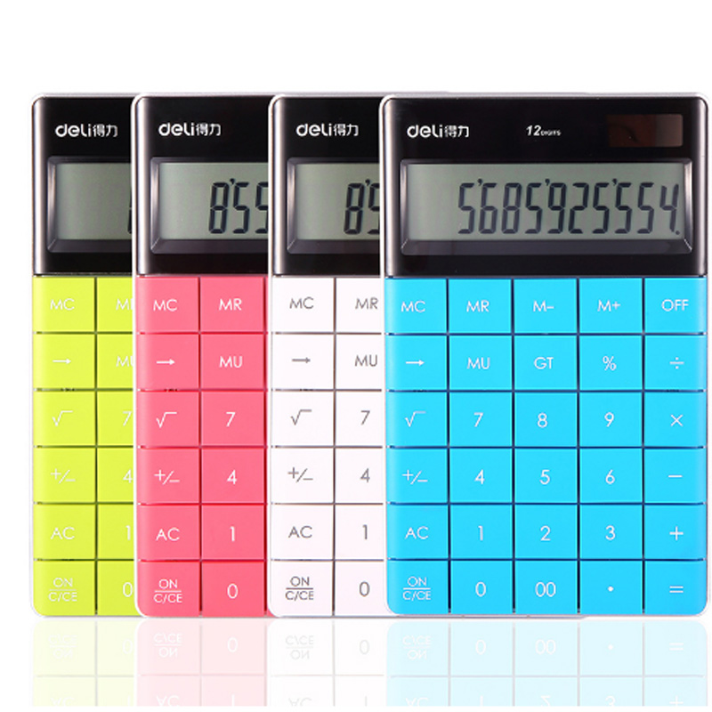 Deli 1589 High Quality Colorful Big Buttons Solar Calculator Pocket Office Electronic