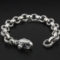 Gothic Eagle Solid 925 Solid Sterling Silver Mens Biker Punk Bracelet 8F001 Free Shipping