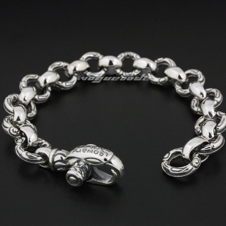 Gothique aigle solide 925 solide en argent Sterling hommes Biker Punk Bracelet 8F001 livraison gratuite