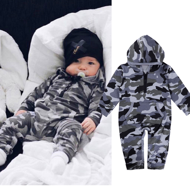ed97d4d39 Infant Baby Boy Hooded Camouflage Romper Newborn Baby Camo Long ...