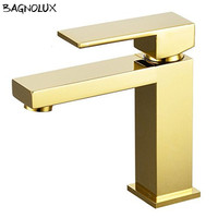 100% Brass Solid Brass Newly Unique Design Wels Bathroom Sink Taps Square Flick Basin Vanity Mixer Tap Gold Bath Sink Faucet
