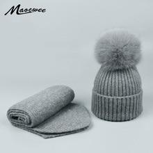Осень Зима родитель-ребенок шапка шарф Набор натуральный Лисий шапка с меховым помпоном шапки для мужчин и женщин унисекс теплая шерсть вязаные шапки кости