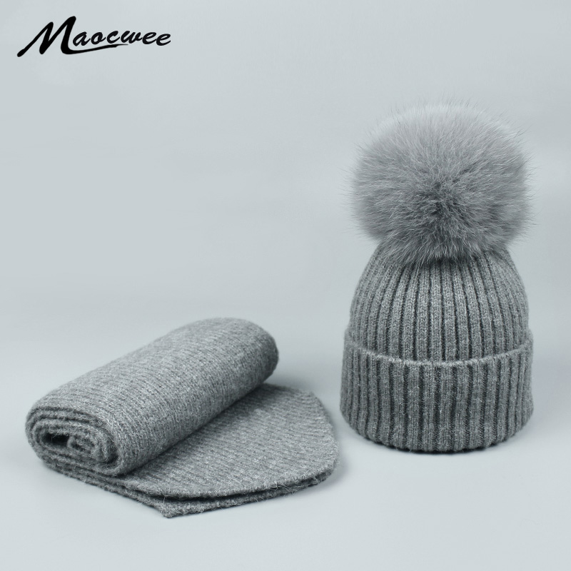 Autumn Winter Parent-child Hat Scarf Set Nature Fox Fur Pompom Beanies Hats For Women Men Unisex Warm Wool Knitting Caps Bones