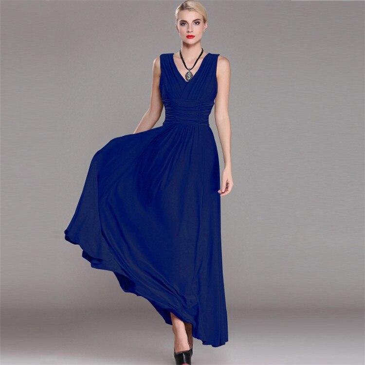 Sleeveless V neck Maxi Dress Plus Size Women Elegant Wrap Vestido Slim Pleated Party Dresses Solid Vintage Long Dress Femme Robe in Dresses from Women 39 s Clothing