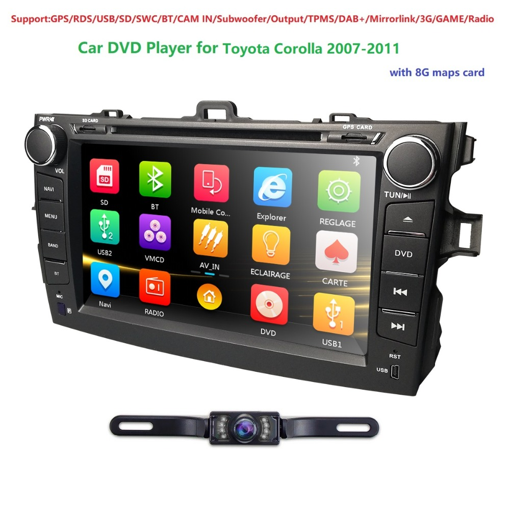 8 Touch Screen Stereo Radio Car CD DVD Player GPS Navigation for Toyota Corolla 2007-2011 BT TPMS DAB+DVBT SWC DVR RDS Maps Cam fashion light purple apples pattern 5cm width tie for men