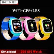 Q90 liberan el Envío GPS de Posicionamiento Del Teléfono Niños La Moda Del Reloj de 1.22 Pulgadas Color de la Pantalla Táctil WIFI SOS Reloj Inteligente PK Q80 Q50 Q60