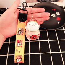 Lovely Cartoon Safety Fortune Cat Wrist strap Kitty bag attachment Small Hanger Key Link chain pretty decoration of your