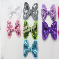 50PCS/LOT Pet hair accessory embroidery flash paillette bow sequin bow tie bows hairpin dogs hair clip