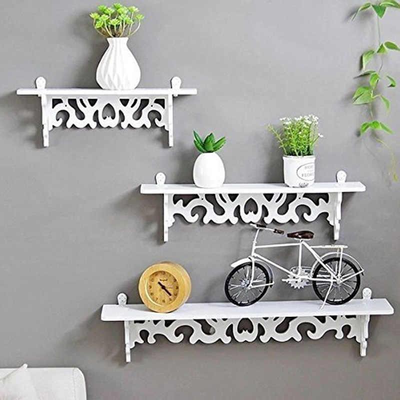 Wall mounted prateleira de parede de madeira fixado na parede rack de armazenamento branco cozinha quarto banheiro quarto miúdo canto prateleira de armazenamento diy