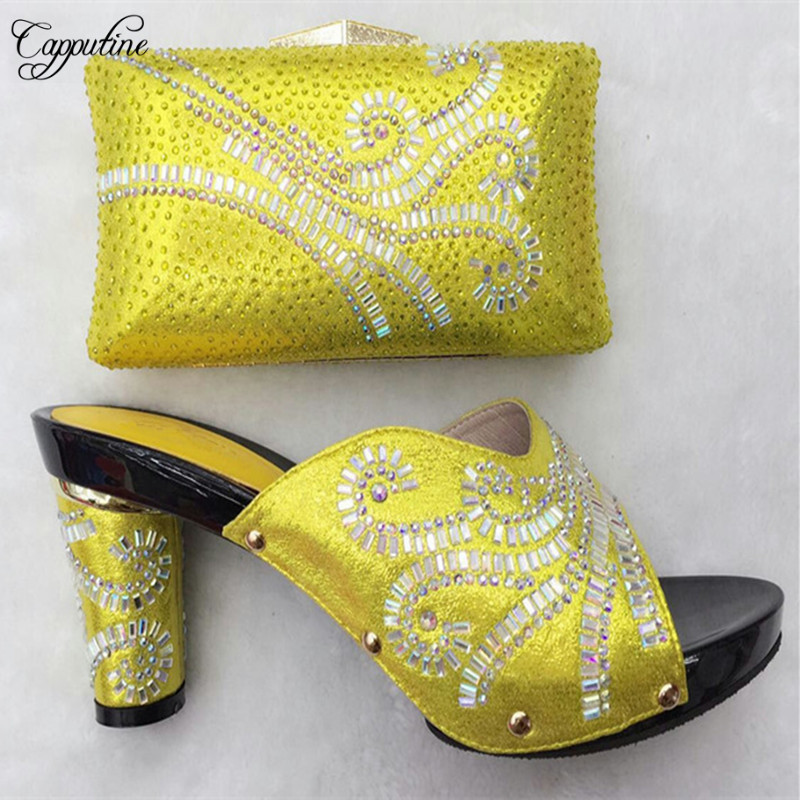 Capputine Nigerian Style Rhinestone Ladies Shoes And Bag Set African Summer High Heels Shoes And Bag Set For Party Size 37-43 capputine new summer sandals woman shoes 2017 fashion african casual sandals for ladies free shipping size 37 43 abs1115