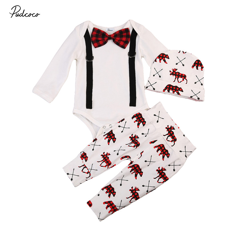 3pcs Hot Sale Baby Autumn Clothes Set Newborn Baby Boys Cotton Soft Gentleman Romper+Deer Pants+Hat 2017 New bebes Outfits 0-24M