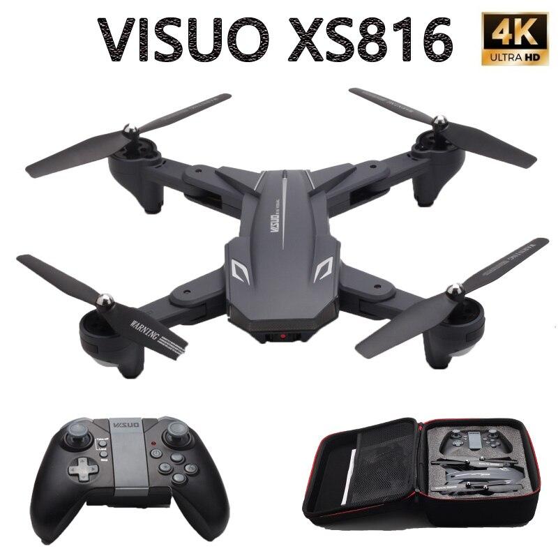Visuo XS816 Dron Optical Flow Radio Control 4K Dual Camera 2MP WIFI FPV Drone Quadcopter Gesture Folding Selfie Drone VS XS809HWVisuo XS816 Dron Optical Flow Radio Control 4K Dual Camera 2MP WIFI FPV Drone Quadcopter Gesture Folding Selfie Drone VS XS809HW
