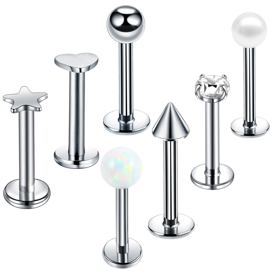 1PC Steel Opal Gem Labret Bar Lip Monore Piercing Heart Star Orelha Cartilage Ear Helix Stud Tragus Barbell Ear Piercing Jewelry Баллон для дайвинга
