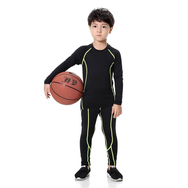 2018 Kinder Compression Set Kinder Fußball Basketball Trainingsanzug Laufbekleidung Fitness Jogging Leggings Strumpfhosen Hemd Tops