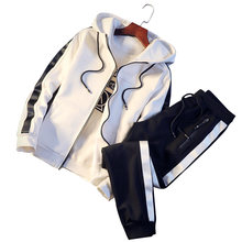 Conjuntos dos homens de Moda Cardigan Hoodies + Calças Conjuntos de fatos de Treino Sportswear dos homens Casuais Outwear Ternos Chandal Hombre Completo