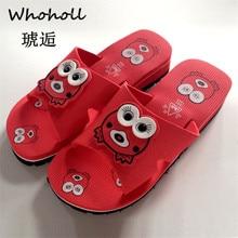 Whoholl Brand Women Cartoon  Flat Bath Slippers Summer Sandals Indoor & Outdoor Home Shoes Size 35-40