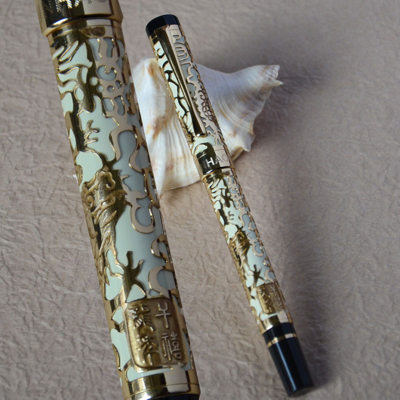 JINHAO 5000 DRAGON EMBOSSED ROLLER BALL PEN WHITE AND GOLDEN jinhao ancient dragon playing pearl roller ball pen with jewelry on top with original box free shipping