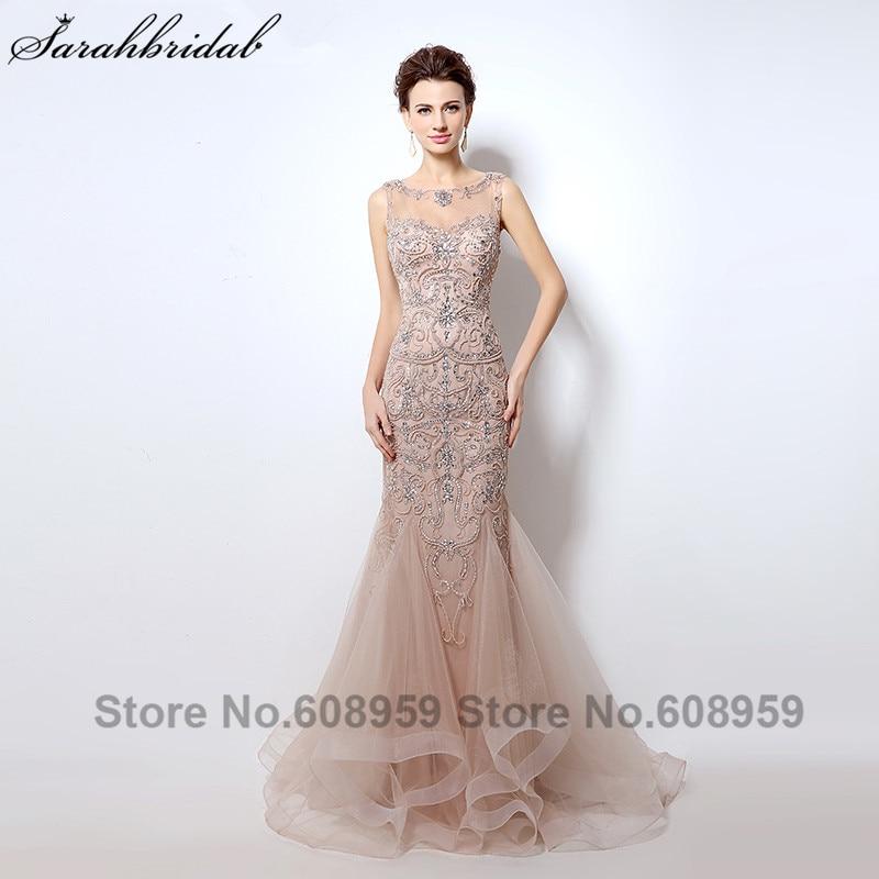Luxury Rhinestone Mermaid Dubai Long Evening Dresses New Blush Crystal Beading Pearl Sheer Prom Dresses Robe
