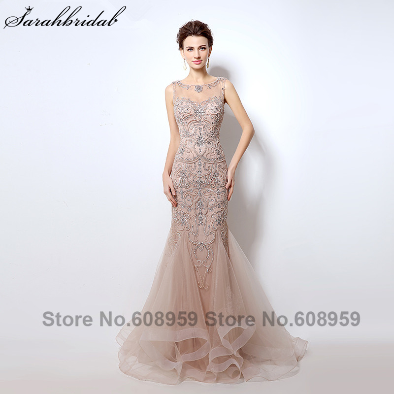 Luxury Rhinestone Mermaid Dubai Long երեկոյան զգեստներ New Blush Crystal Beading Pearl Sheer Prom Զգեստներ Robe De Soiree LSX006