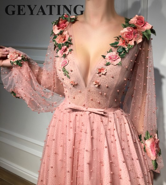 Blush Pink Pearls Evening   Dresses   with Sleeves Long V-Neck 3D Flowers Appliques Glitter   Prom     Dress   2019 Tulle A-line Party Gowns