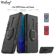 OPPO Reno 10X Zoom Case Armor Metal Finger Ring Holder Phone Bumper For OPPO Reno 10X Zoom Cover OPPO Reno 10X Zoom Stand Fundas frameless transparent matte hard case for oppo reno reno 10x zoom phone case for oppo r17 r17 pro with finger ring cases