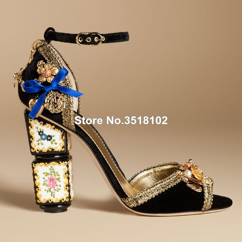 d927c342f57856 Ethnic Style Flower Decoration Square Sandals Gong Yan Retro Rhinestone  Gemstones High heeled Bride Wedding Shoes Peep Toe Women-in Women s Pumps  from Shoes ...