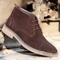 British Style Cotton Padded Retro Thread Casual Plus Velvet Size Real Leather Simple Matte Men Ankle Male Winter Desert Boots